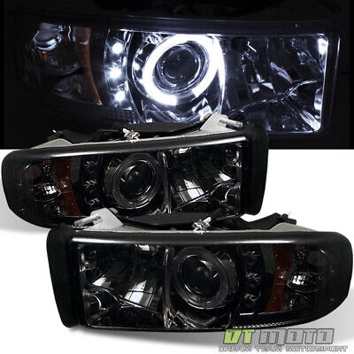 Smoked 1994-2001 Dodge Ram 1500 Dual LED Halo Projector Headlights Left+Right