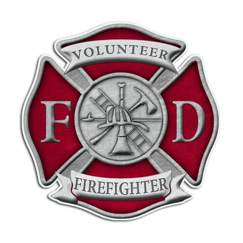 Volunteer Firefighter Maltese Cross Sticker Red Fire Department Truck Decal Set