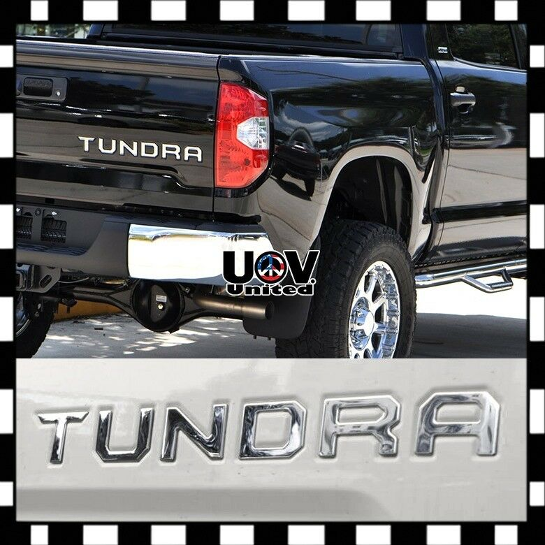 Chrome 3D Raised Tailgate Letters compatible with Tundra 2014 2015 2016 2017 2018 2019 2020 2021 Zinc Alloy Emblem Inserts