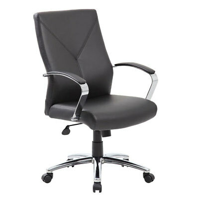 Lot Of 10 Leatherplus Black Conference Table Chairs With Padded Arms