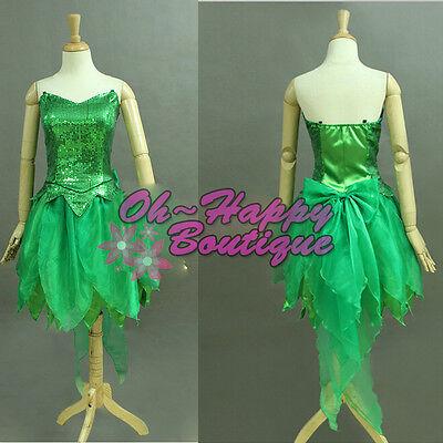 Tinkerbell Cosplay Dress (little elf Tinkerbell dress Fairy tale Cosplay Costume sparkle green dress)