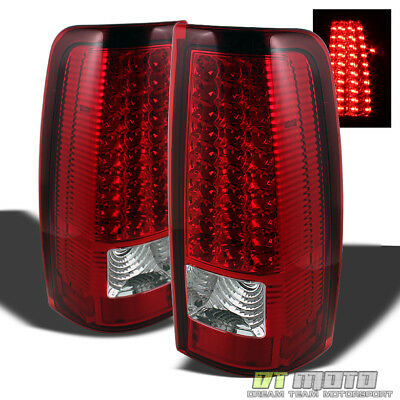 - 1999-2006 GMC Sierra 1500 2500 3500 Red Clear LED Tail Lights Lamps Left+Right