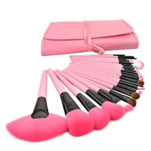 1-Set-24-pz-Pennelli-Cosmetico-Make-Up-Professionale-Rosa-Trucco-Con-Custodia