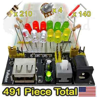 Breadboard Beginners Kit Power Supply Module Resistors Wires More...