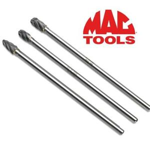 "NEW 3PC MAC TOOLS CARBIDE BURR SET CB3L 186881764 6"" NON-FERROUS  POWER TOOLS SURFACE PREPARATION ACCESSORIES"