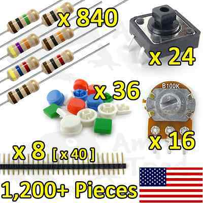 1200pcs Resistor Kit Variety Pack For Arduino Ttl Raspberry Pi Breadboard