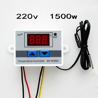 220V Digital LED Temperature Controller 10A Thermostat Control Switch Probe