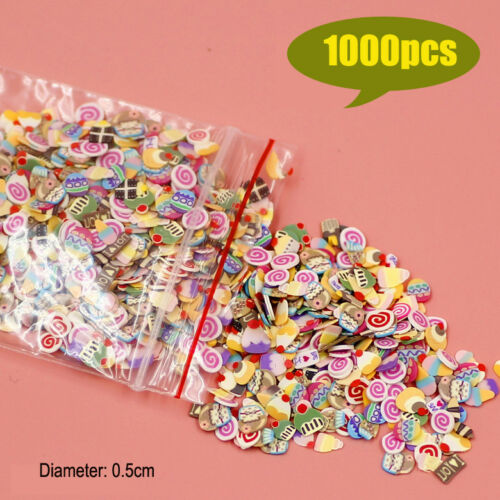 1000pc Miniature Mixed Cookies Cake Slices Dollhouse Food DIY Fimo Nail Art 1/12