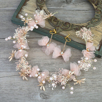 Pink White Silk Flowers Pearls Bridal Garland Tiara Wedding Bride Hair Accessory (Silk Tiara)