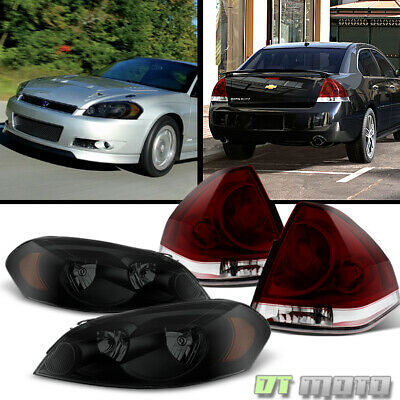 2006-2013 Chevrolet Impala Black Smoked Headlights +Dark Red Tail Lamps Lights