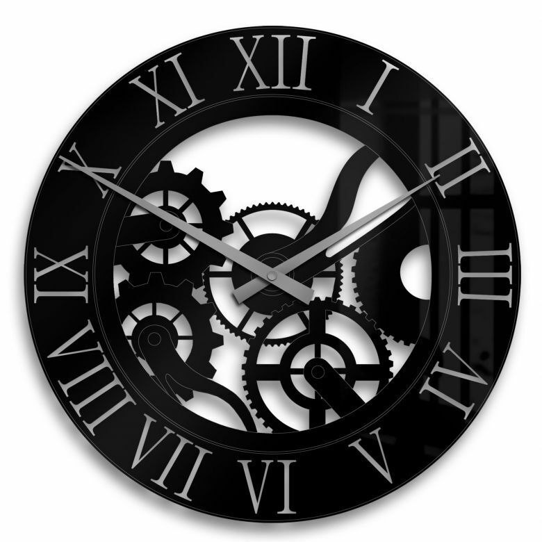Wanduhr Zahnrad Acrylglas  Deko Uhr mit Uhrwerk Wohnzimmer Eyecatcher schwarz