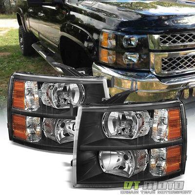 Black 2007-2013 Chevy Silverado 1500 2500 3500 Headlights Headlamps 08 09 10 11