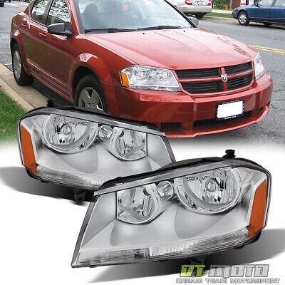 Fits 2008-2014 Dodge Avenger Replacement Headlights Headlamp Pair Set Left+Right