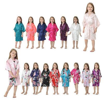 Silk Satin Flower Girls Child Kimono Robe Nightwear Wedding Gown dressing 4-12# (Childrens Robes)