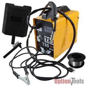 MIG-130 Welder Flux Core Welding Machine Automatic Wire Feed Feature Welding New