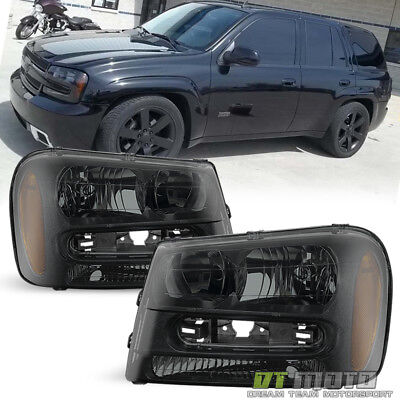 [Exclusive Dark Smoke] 2002-2009 Chevy Trailblazer Headlights Headlamps 02-09