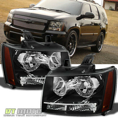 Black 2007-2014 Chevy Suburban Tahoe Avalanche Headlights Aftermarket Left+Right