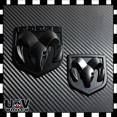 Fit Dodge Ram Emblem 1500 2500 3500 Tailgate Ram Head Medallion Matte Black Set