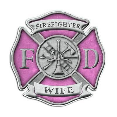Firefighter Wife Maltese Cross Sticker - Pink Girl Mom Truck Decal](Firefighter Girls)