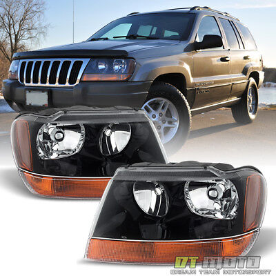 - 1999-2004 Jeep Grand Cherokee Laredo Headlights Lamps Replacement Set Left+Right