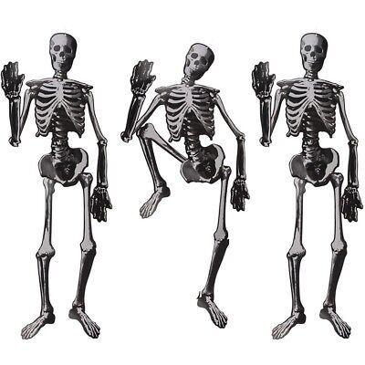3x Halloween-Deko Dekoration Papier-Skelett ca. 135 cm zum Aufhängen Helloween