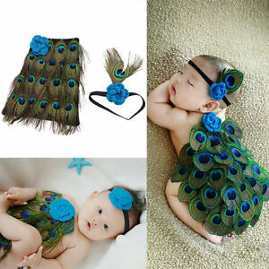 Newborn Baby Peacock Photo Photography Prop Costume Headband Hat Clothes Set D5