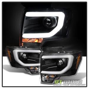 black 2009 2014 ford f150 raptor svt frost led tube drl projector headlights set