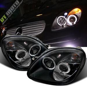 Black 1998-2004 Mercedes-Benz R170 SLK230 SLK320 LED Halo Projector Headlights