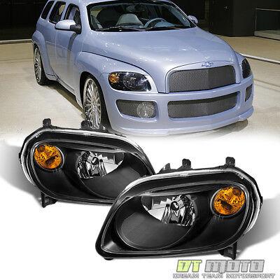 Black 2006-2011 Chevy HHR Replacement Headlights Headlamps 06-11 Set (2008 Chevrolet Hhr Replacement)