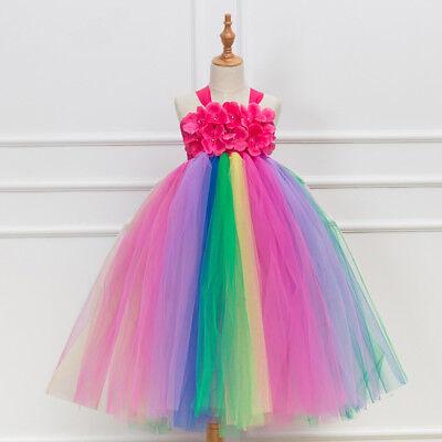 Fairy Flower Dress (Girl's Flower Girls Tutu Fairy Princess Dress Rainbow And Red Wedding Party)
