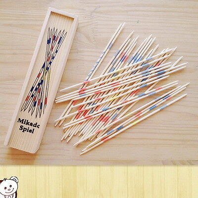 Baby Educational Wooden Traditional Mikado Spiel Pick Up Sticks With Box Game 0Z