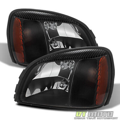 Black 2000-2005 Cadillac Deville Headlights Headlamps Left+Right Aftermarket Set