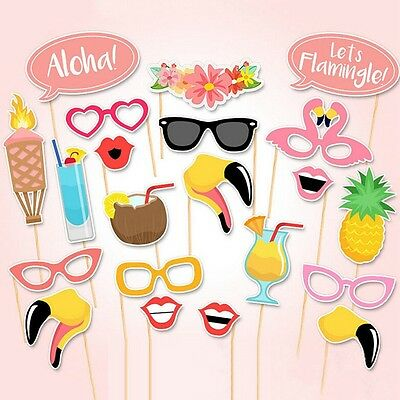21pcs Summer Time Photo Booth Props Hawaiian Beach Pool Party Celebration Decor