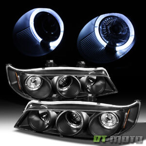 For 1994-1997 Honda Accord LED Halo Black Projector Headlights w/Corner Lights