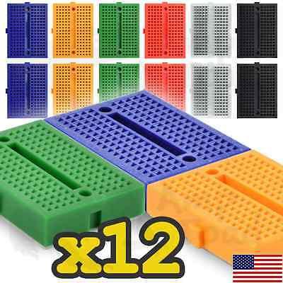 12 X Mini Solderless Breadboard 170 Tie Point Kit - Linkable Arduino Robot Ttl