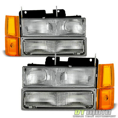 [8PC] 1994-1998 GMC Sierra Pickup Suburban Yukon Headlights+Corner+Signal Lamps ()