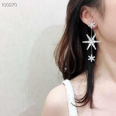 Signed JENNIFER BEHR 3 Star Statement Prong Gunmetal Earrings 8cm drop
