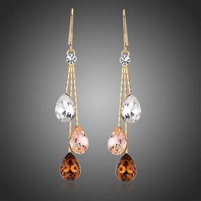 18k Gold Plated Made with Multi Colored Swarovski Crystals Drop Dangle (Gold Coloured Pearl)