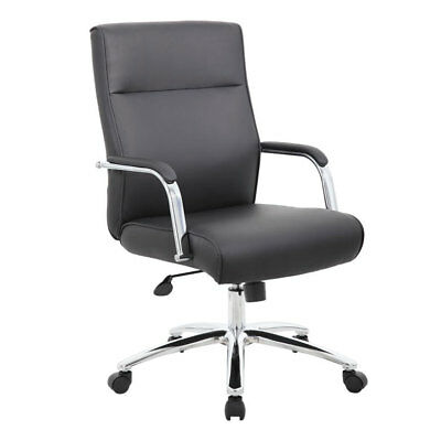 Lot Of 10 Modern Black Conference Table Chairs With Padded Arms