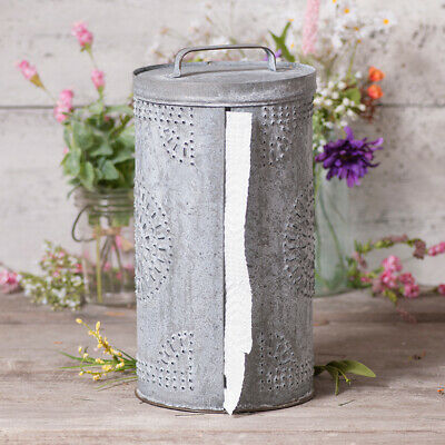 Galvanized Punched Tin Paper Towel Dispenser in Weathered Zinc Towel Holder