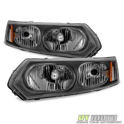 04 Saturn Ion Sedan (Black 2003-2007 Saturn ION Sedan Factory Style Headlights Headlamps)