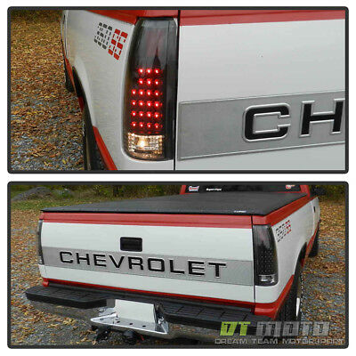 Black 1988-1998 chevy Silverado C/K Suburban Tahoe Sierra LED Tail Lights Lamps