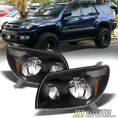 For Black 2003 2004 2005 Toyota 4Runner 4-Runner Headlights Headlamps Left+Right 2005 Toyota 4runner Headlight