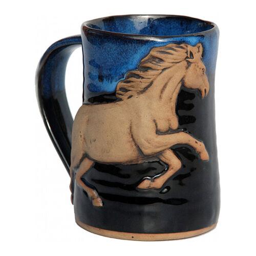 "MUGS - ""GALLOPING HORSE"" HANDMADE POTTERY MUG - BLUE ON BLACK - 3D TANKARD"