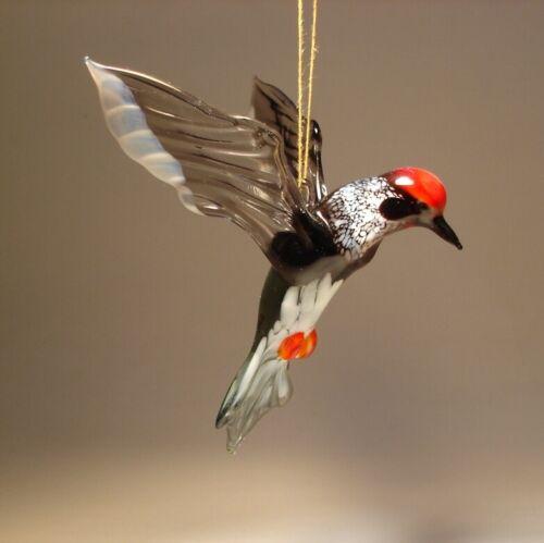 Blown Glass Figurine Art Hanging Bird WOODPECKER Ornament