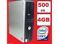 FAST DELL QUAD CORE PC COMPUTER DESKTOP TOWER WINDOWS 7 WI-FI 4GB RAM 500GB HDD
