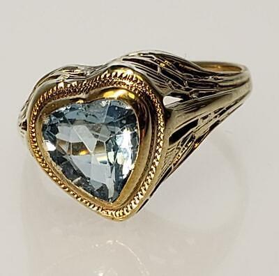 "14K Yellow Gold Aqua Marine Heart Shaped Ring Size 5 ¾"""