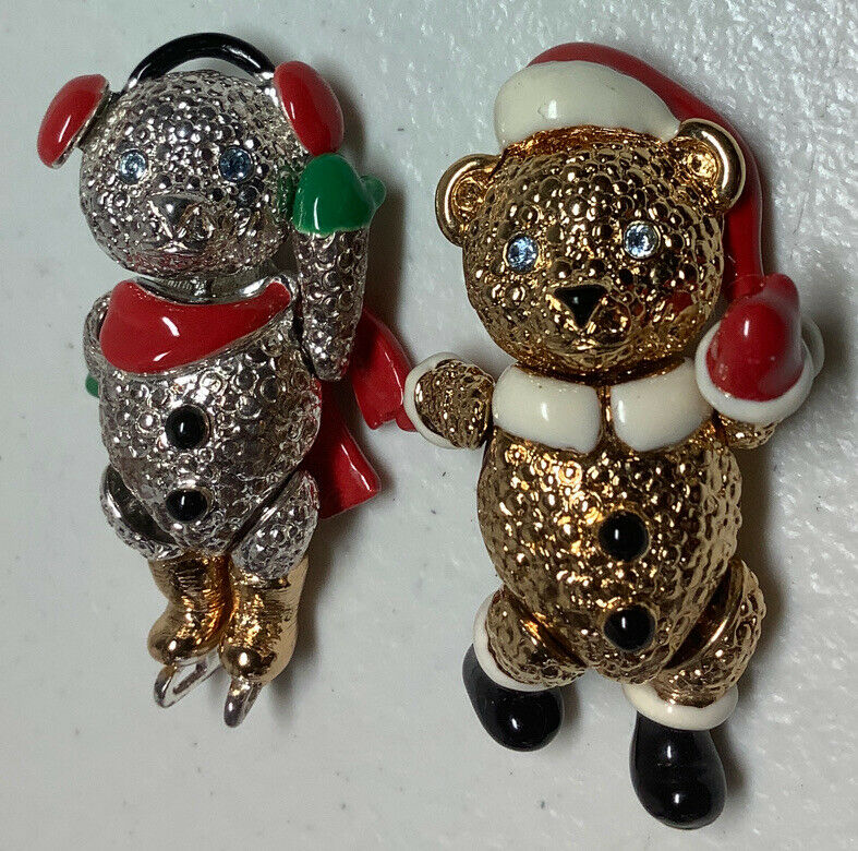 2 Vintage Napier Christmas Bear Pins With Jointed Arms , Legs, And Heads