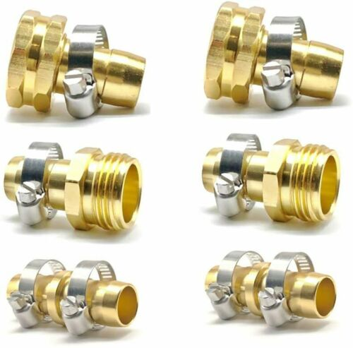 """5/8"""" - 3/4"""" Garden Water Hose Connector Repair Mender Kit Ends Fittings w/Clamps"""