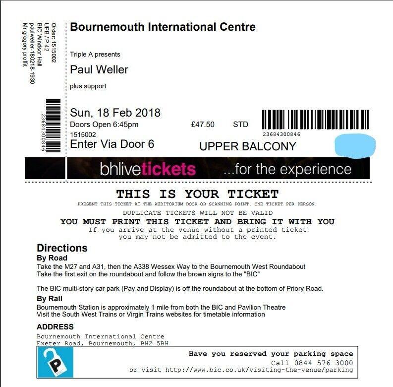 Paul Weller 2018 Tour tickets - Bournemouth x2
